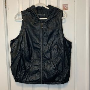 Forever 21 Faux Leather hoodie vest